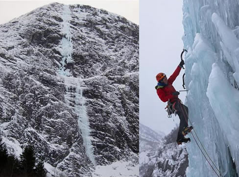 Cascade de glace en Norvège