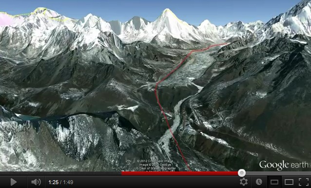 Trekking camp de base de l'Everest avec Google Earth