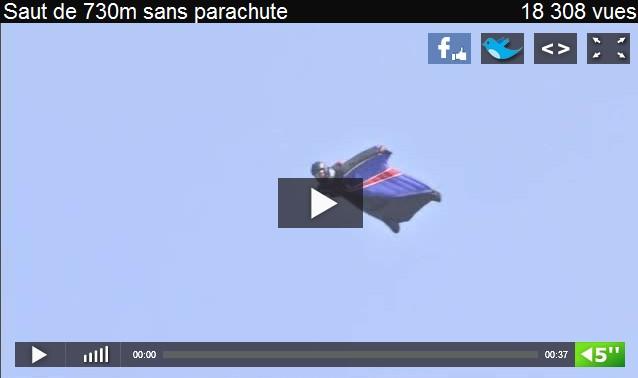 Première mondiale : Il atterrit sans parachute après avoir sauté à 730m ( vidéo)
