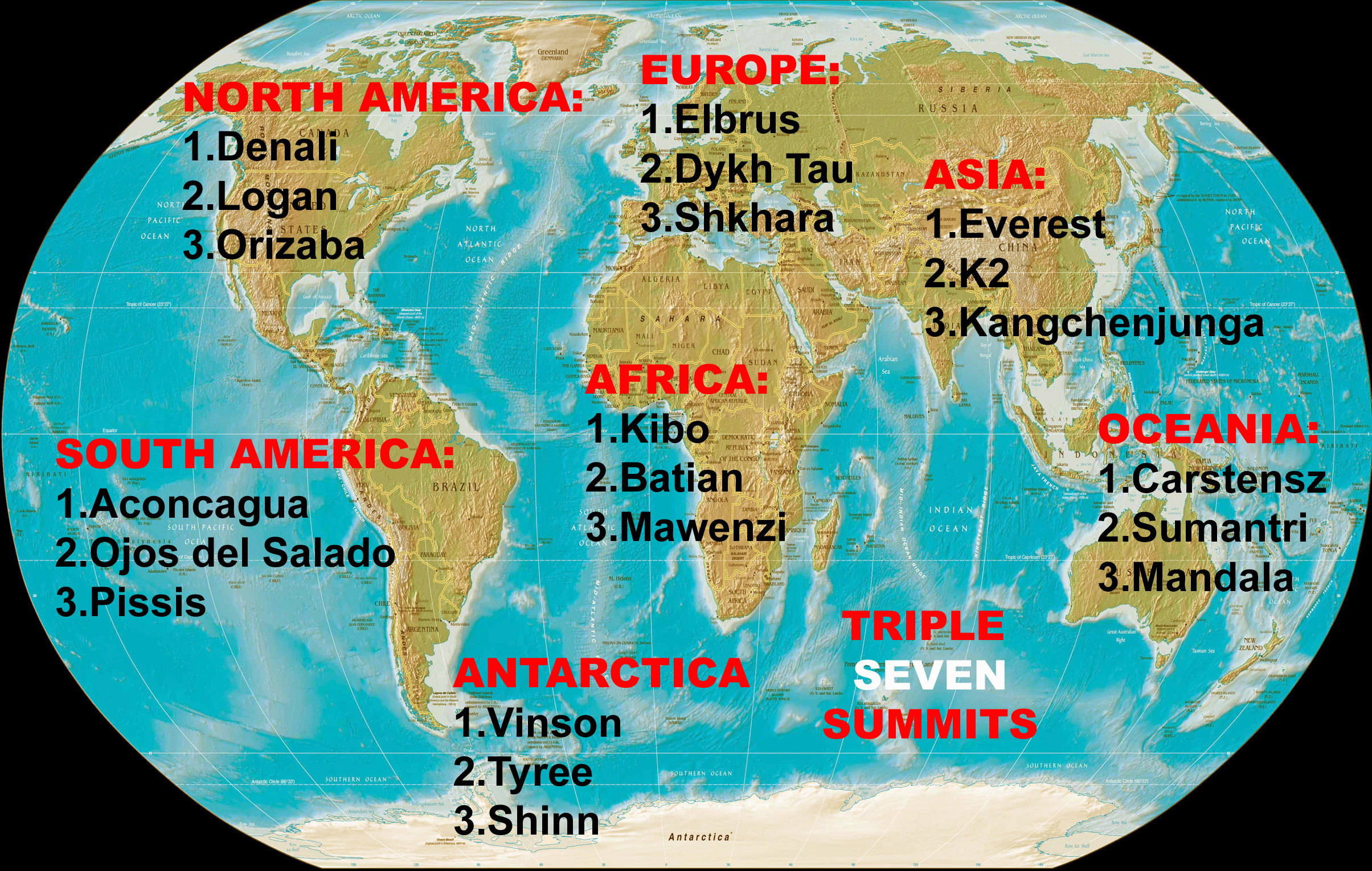 TRIPLE SEVEN SUMMITS WORLD MAP