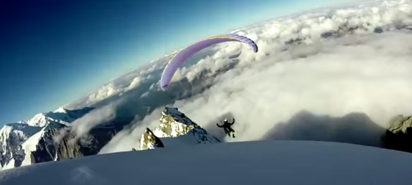 Paragliding, Base jump, Wingsuit Antoine Tricou 2014