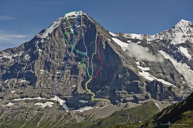 Roger Schäli, Robert Jasper et Simon Gietl ouvrent Odyssee (8a+) sur la face Nord de l'Eiger