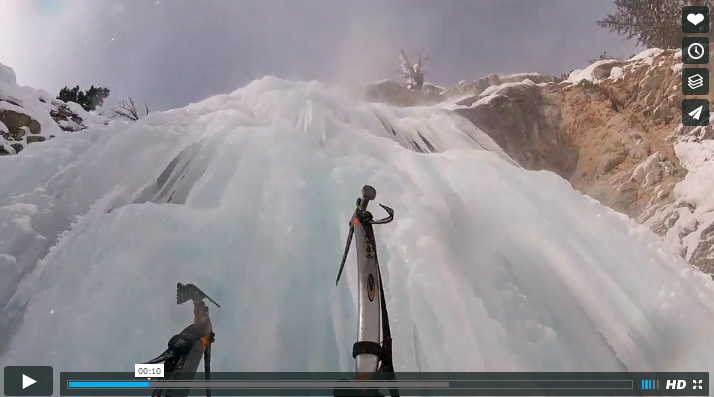Chute en cascade de glace